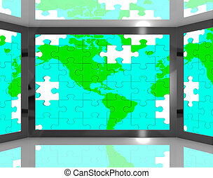 Map Of America On Screen Showing American Television's Shows
