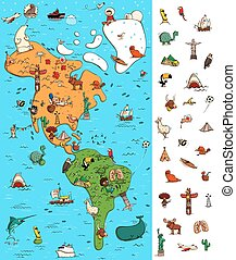 Map of America Visual Game. Locate isolated items on a map....