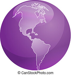 Map of Americas sphere - Map of the Americas on a glossy ...