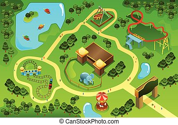 Map of an amusement theme park - A vector illustration of...
