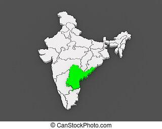 Map of Andhra Pradesh. India. 3d