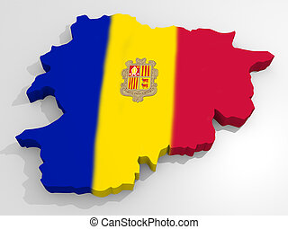 Map of Andorra with flag principality of Andorra