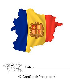 Map of Andorra with flag