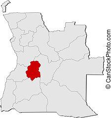 Map of Angola, Huambo highlighted