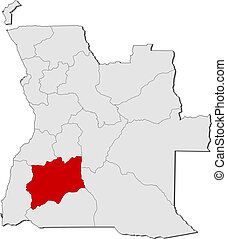 Political map of Angola with the several states where Hu?la is highlighted.