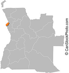 Political map of Angola with the several states where Luanda is highlighted.