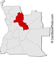 Map of Angola, Malanje highlighted