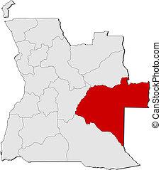 Map of Angola, Moxico highlighted