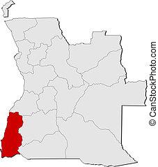 Map of Angola, Namibe highlighted