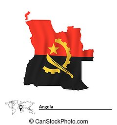 Map of Angola with flag