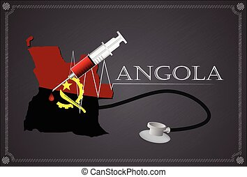 Map of Angola with Stethoscope and syringe.