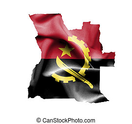 Map of Angola with waving flag isolated on white
