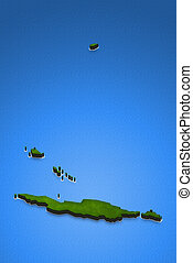 Map of Anguilla. 3D isometric perspective illustration.
