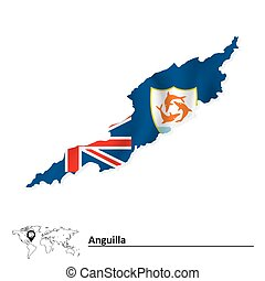 Map of Anguilla with flag