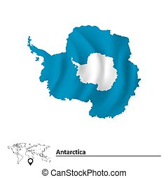 Map of Antarctica with flag