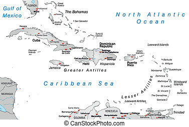 Map of Antilles as an overview map in gray