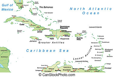 Map of Antilles as an overview map in pastel green