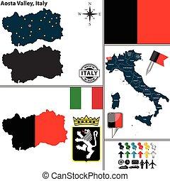 Map of Aosta Valley, Italy - Vector map of region Aosta...