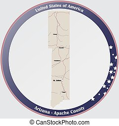 Map of Apache County in Arizona