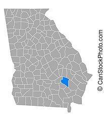 Map of Appling in Georgia