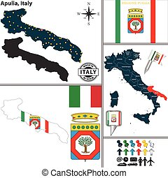 Map of Apulia, Italy - Vector map of region Apulia with coat...
