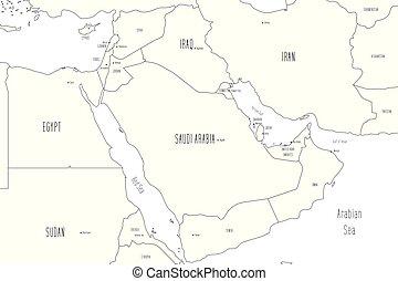 Map of Arabian Peninsula. Handdrawn doodle style. Vector ...