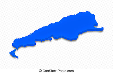 Map of Argentina. 3D isometric perspective illustration.