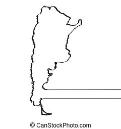 Map of Argentina. Continous line