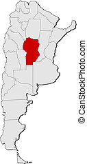 Political map of Argentina with the several provinces where C?rdoba is highlighted.