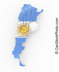 Map of Argentina in Argentinian flag colors