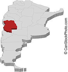 Map of Argentina, Mendoza highlighted