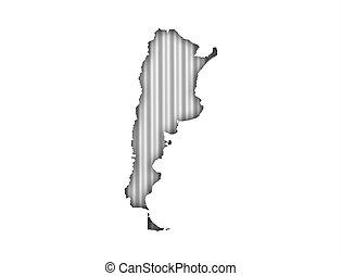 Map of Argentina on corrugated iron