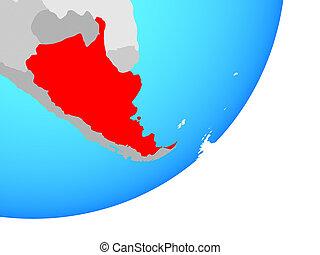 Map of Argentina on globe