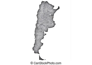 Map of Argentina on weathered concrete