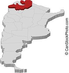 Map of Argentina, Salta highlighted