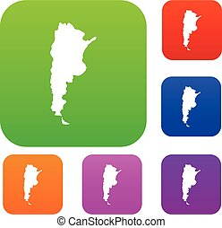 Map of Argentina set color collection