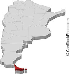 Political map of Argentina with the several provinces where Tierra del Fuego is highlighted.