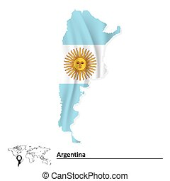 Map of Argentina with flag