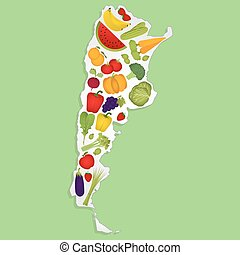 Map of Argentina with fruits