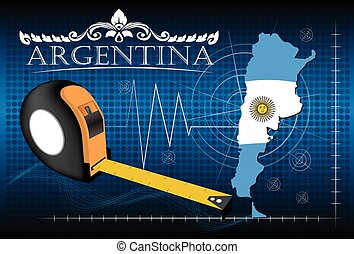 Map of Argentina with ruler, vector.