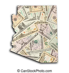Map of Arizona, filled with US dollars