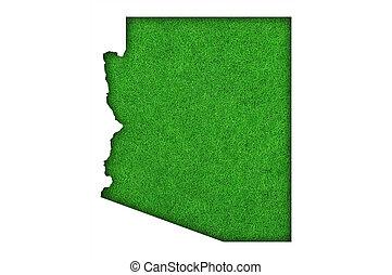 Map of Arizona on green felt
