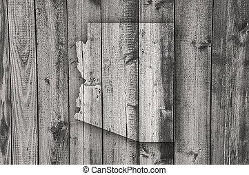 Map of Arizona on weathered wood