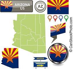 Map of Arizona, US