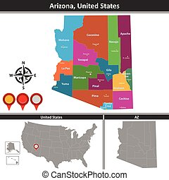 Map of Arizona, US - Vector map of Arizona with counties and...
