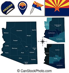 Map of Arizona with Regions - Vector map of Arizona with...