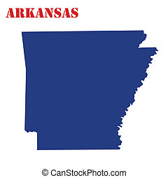 Map of Arkansas on white background, vector illustration