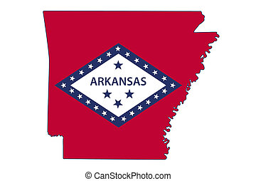 Map of Arkansas in the Arkansas flag colors