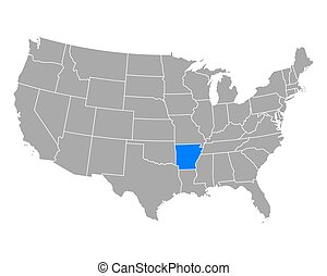 Map of Arkansas in USA