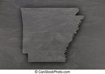 Map of Arkansas on dark slate